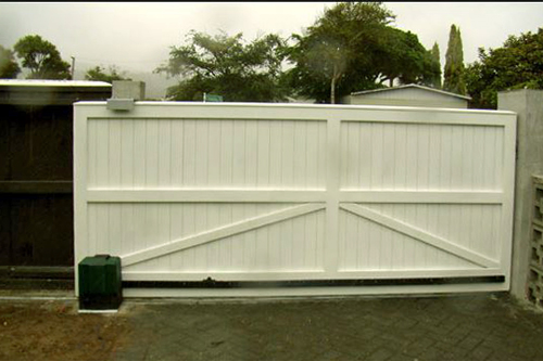 Sliding residential solid wood gate