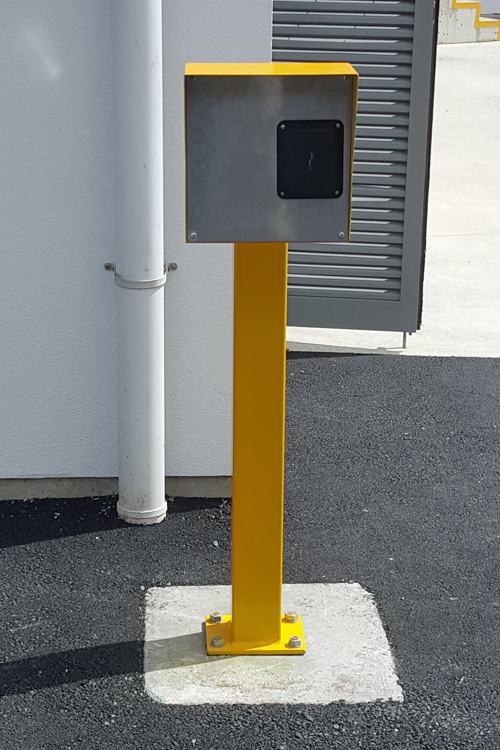 Swipe post for sliding automatic gate
