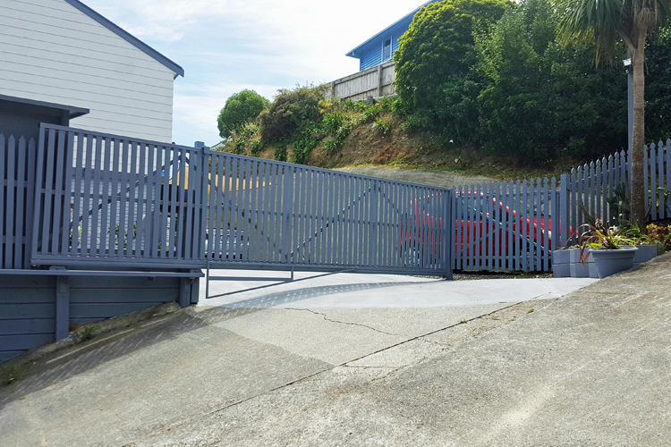 cantilevered sliding gate on steep slope