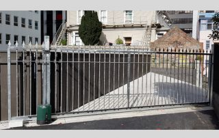 Sliding gates on apartment block